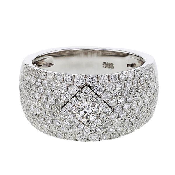 Natural 1.65 CTW Diamond Ring 14K White Gold - REF-239Y4N