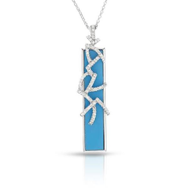 Natural 5.82 CTW Turquoise & Diamond Necklace 14K White Gold - REF-61X2T