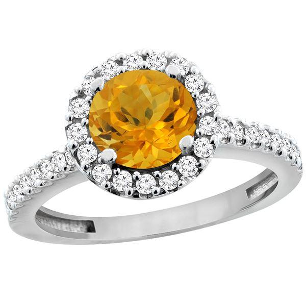 1.13 CTW Citrine & Diamond Ring 10K White Gold - REF-54K3W