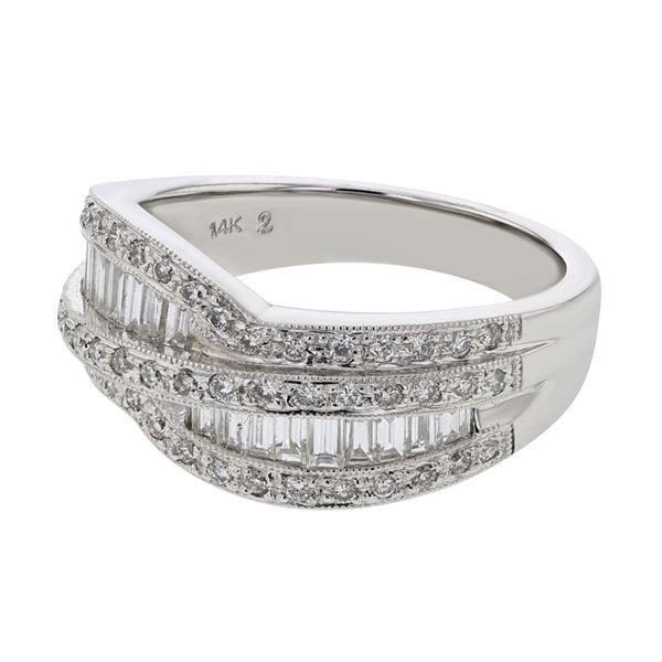 Natural 0.95 CTW Baguette & Diamond Ring 14K White Gold - REF-138Y6N