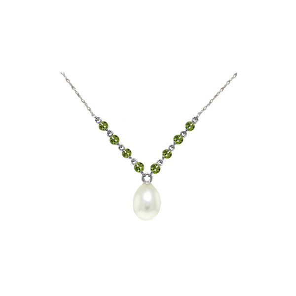 Genuine 5 ctw Pearl & Peridot Necklace 14KT White Gold - REF-25W4Y