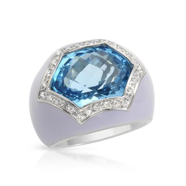 Natural 11.22 CTW Topaz & Diamond Ring 14K White Gold - REF-123X3T