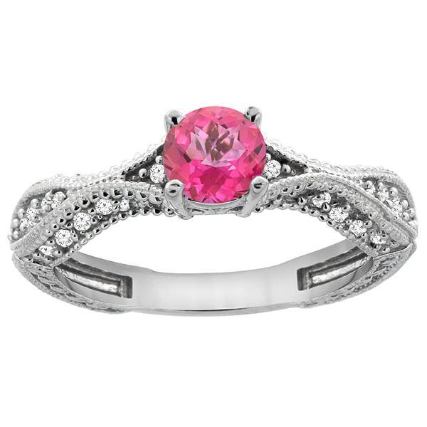 0.81 CTW Pink Topaz & Diamond Ring 14K White Gold - REF-67Y8V