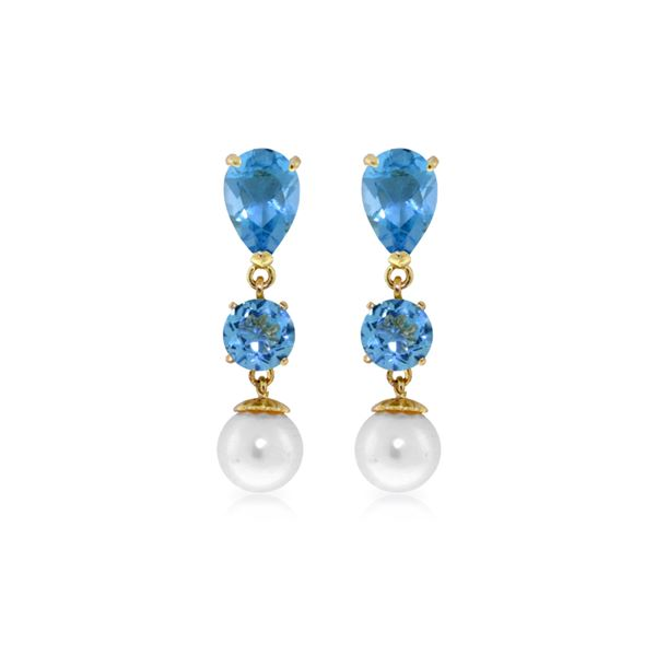 Genuine 10.50 ctw Blue Topaz & Pearl Earrings 14KT Yellow Gold - REF-40R9P