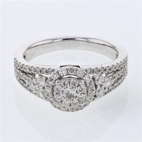 Natural 0.83 CTW Diamond Ring 14K White Gold - REF-108M9F