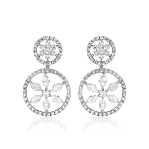 Natural 2.29 CTW Diamond & Marquise Earring 14K White Gold - REF-216M2F