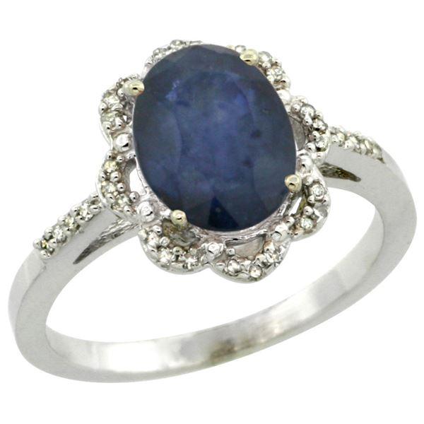 2.26 CTW Blue Sapphire & Diamond Ring 10K White Gold - REF-53F5N