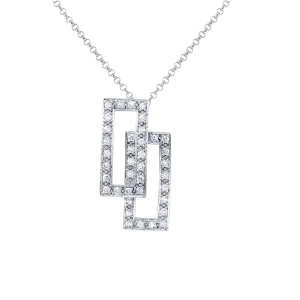 Natural 0.48 CTW Diamond Necklace 14K White Gold - REF-52H2W