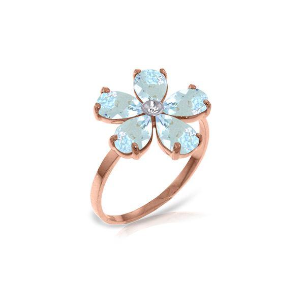 Genuine 2.22 ctw Aquamarine & Diamond Ring 14KT Rose Gold - REF-42A2K
