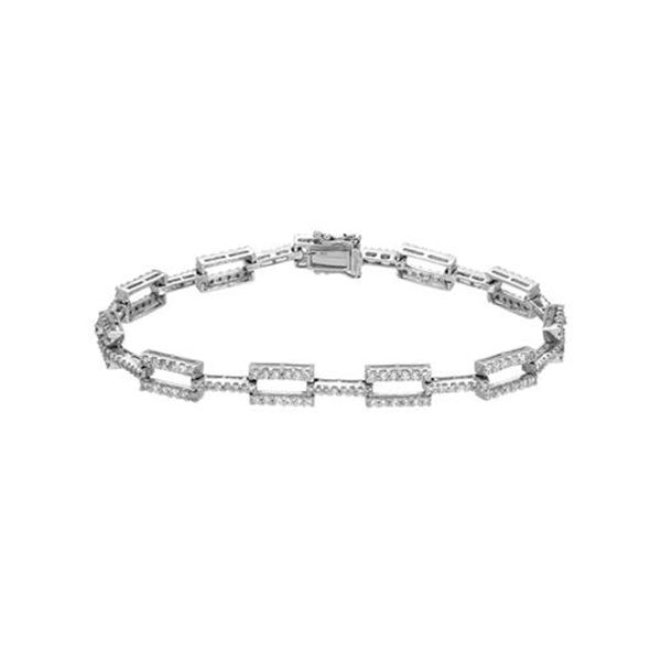 Natural 2.23 CTW Diamond Bracelet 18K White Gold - REF-331H2W