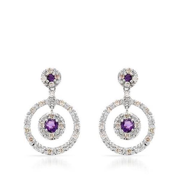 Natural 1 CTW Amethyst & Diamond Earrings 14K White Gold - REF-71H3W