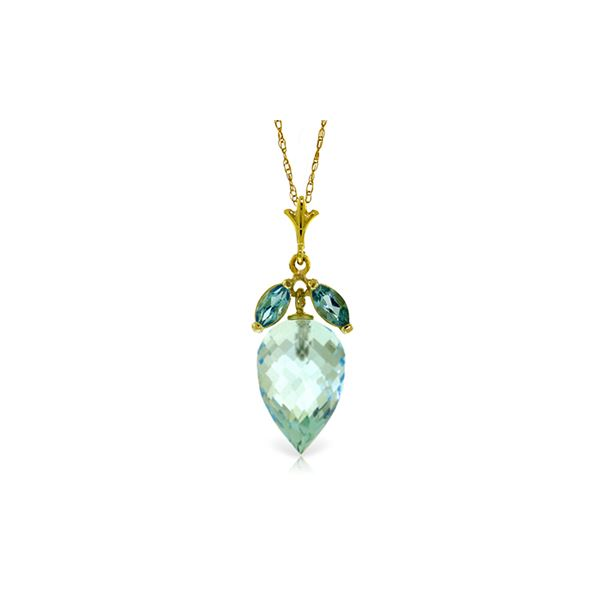 Genuine 11.75 ctw Blue Topaz Necklace 14KT Yellow Gold - REF-37N2R