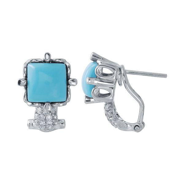 Natural 2.93 CTW Turquoise & Diamond Earrings 14K White Gold - REF-51M3F