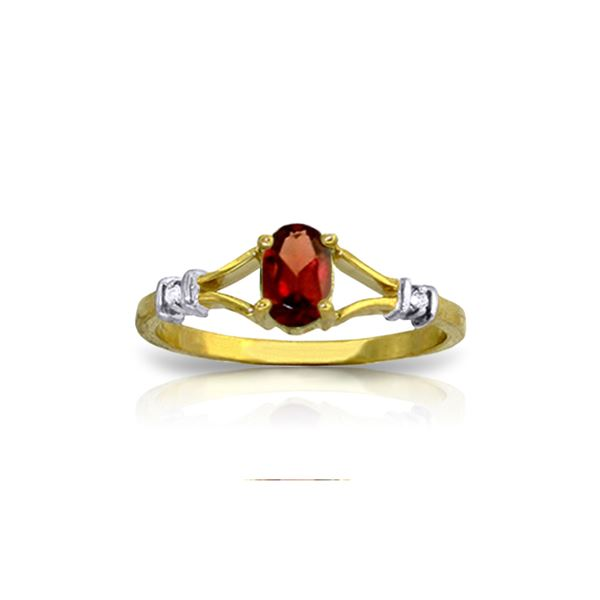 Genuine 0.46 ctw Garnet & Diamond Ring 14KT Yellow Gold - REF-27F2Z