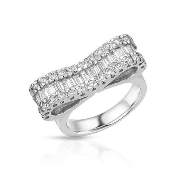 Natural 1.49 CTW Baguette & Diamond Ring 18K White Gold - REF-255R6K
