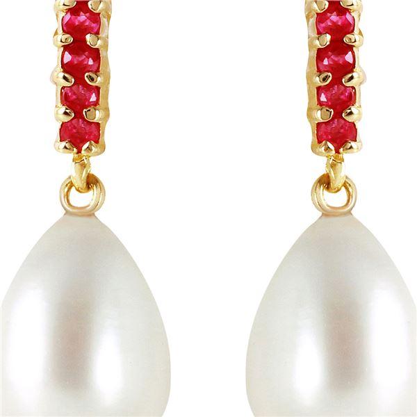 Genuine 8.4 ctw Pearl & Ruby Earrings 14KT Yellow Gold - REF-25F6Z