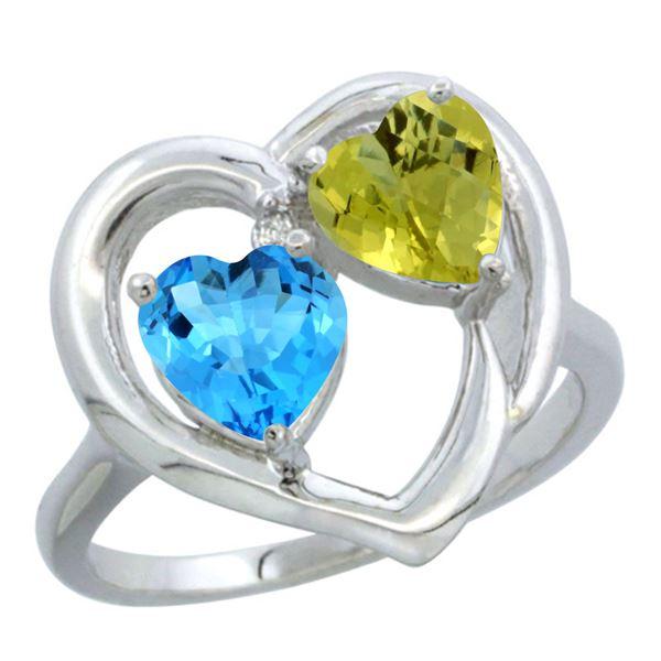 2.61 CTW Diamond, Swiss Blue Topaz & Lemon Quartz Ring 14K White Gold - REF-33N5Y