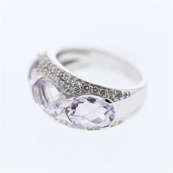 Natural 5.95 CTW Amethyst & Diamond Ring 14K White Gold - REF-74M7F