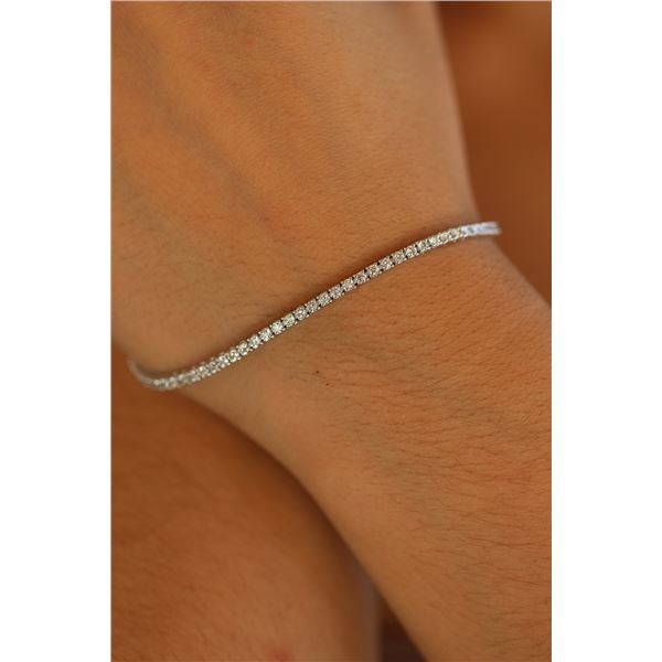Natural 2.02 ctw Diamond Eternity Tennis Bracelet 18K White Gold - REF-150F3N