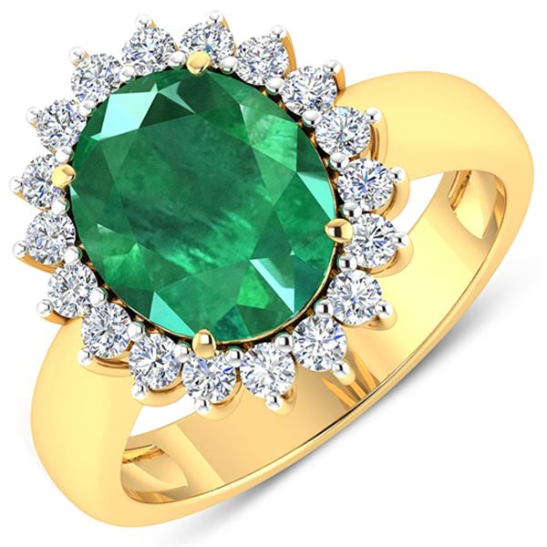 Natural 3.68 CTW Zambian Emerald & Diamond Ring 14K Yellow Gold - REF-157X3K