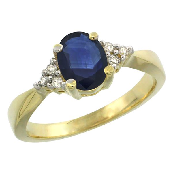 1.20 CTW Blue Sapphire & Diamond Ring 10K Yellow Gold - REF-31F6N
