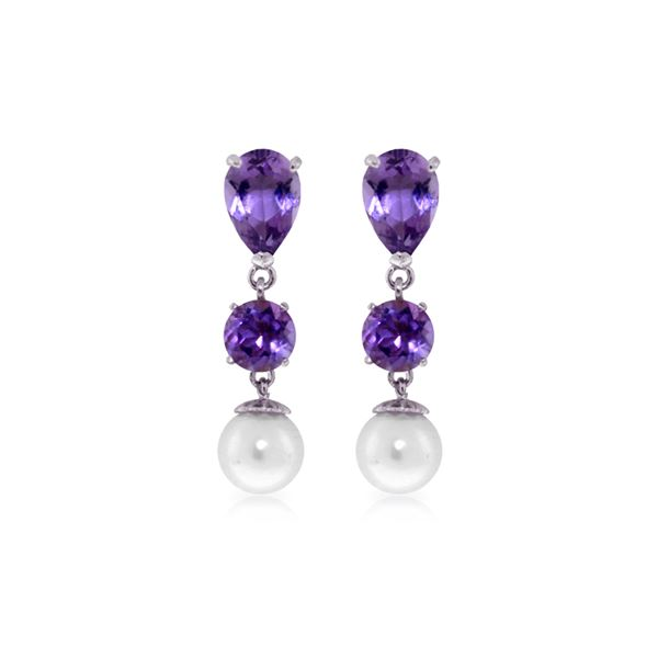 Genuine 10.50 ctw Amethyst & Pearl Earrings 14KT White Gold - REF-40Y9F