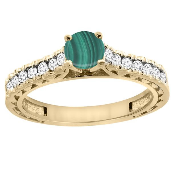 1.66 CTW Malachite & Diamond Ring 14K Yellow Gold - REF-62N5Y