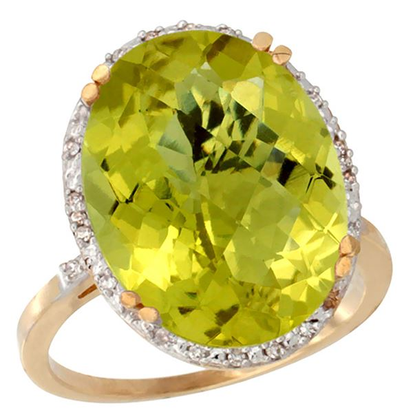 13.71 CTW Lemon Quartz & Diamond Ring 14K Yellow Gold - REF-53W8F