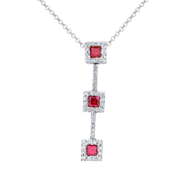 Natural 0.96 CTW Ruby & Diamond Necklace 14K White Gold - REF-45Y9N