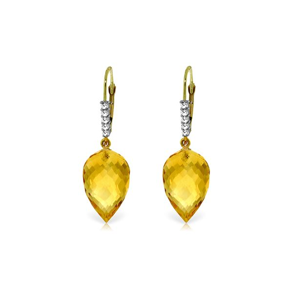 Genuine 19.15 ctw Citrine & Diamond Earrings 14KT Yellow Gold - REF-49N2R