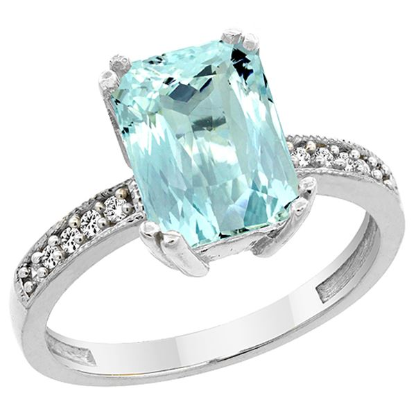 3.70 CTW Aquamarine & Diamond Ring 14K White Gold - REF-59X2M