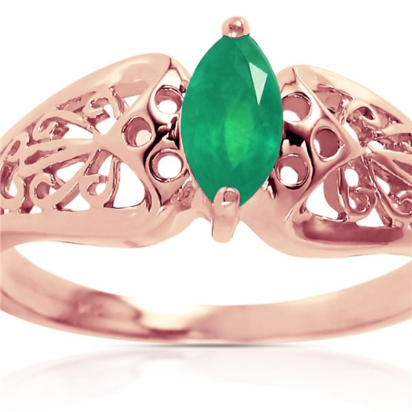 Genuine 0.20 CTW Emerald Ring 14KT Rose Gold - REF-48Z4N