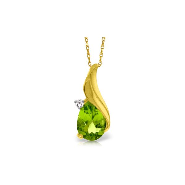 Genuine 2.03 ctw Peridot & Diamond Necklace 14KT Yellow Gold - REF-35A9K