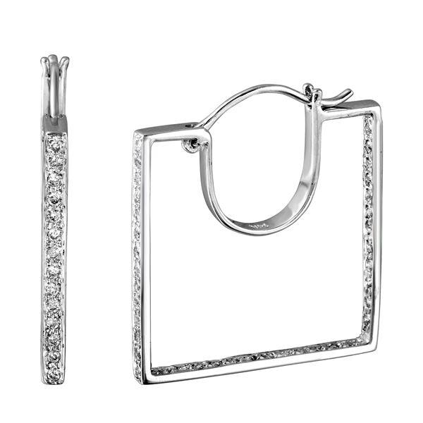 Natural 0.56 CTW Diamond Earrings 14K White Gold - REF-72M9F