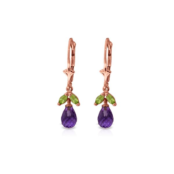 Genuine 3.4 ctw Amethyst & Peridot Earrings 14KT Rose Gold - REF-26V6W
