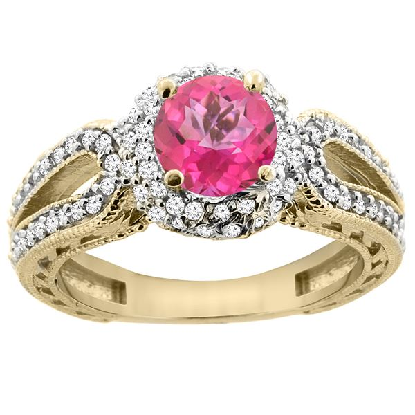 1.50 CTW Pink Topaz & Diamond Ring 14K Yellow Gold - REF-86F9N