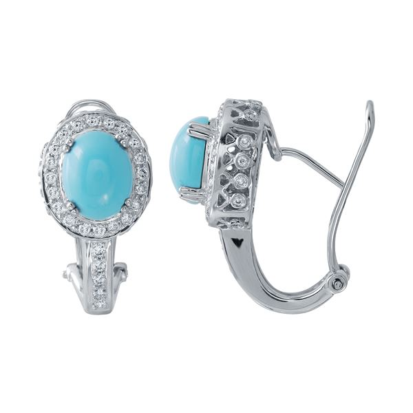 Natural 4.48 CTW Turquoise & Diamond Earrings 14K White Gold - REF-117Y2N