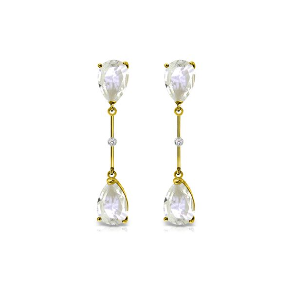 Genuine 6.01 ctw White Topaz & Diamond Earrings 14KT Yellow Gold - REF-42Z4N