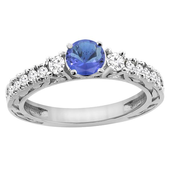 1.19 CTW Tanzanite & Diamond Ring 14K White Gold - REF-85H5M