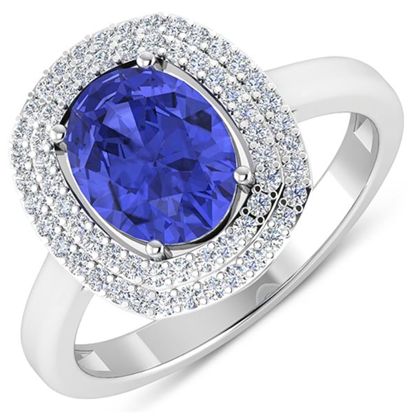 Natural 1.88 CTW Tanzanite & Diamond Ring 14K White Gold - REF-63X9K