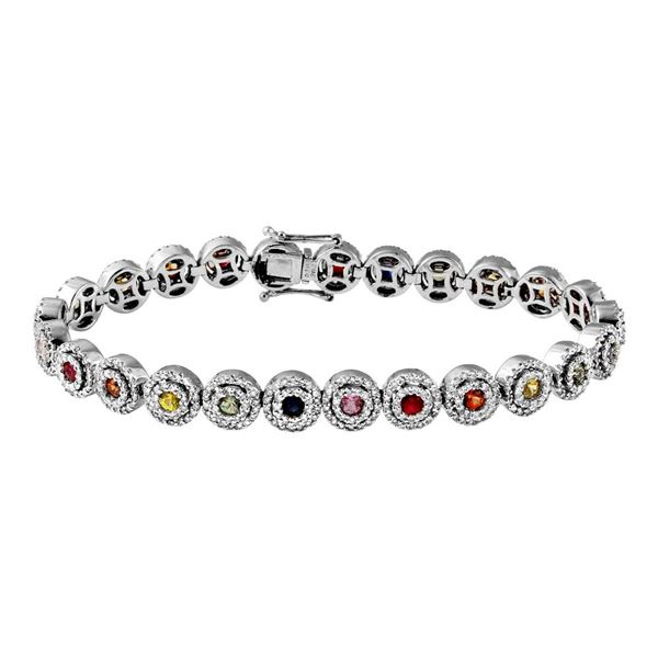 Natural 6.20 CTW Multi-Sapphire & Diamond Bracelet 14K White Gold - REF-373M5F