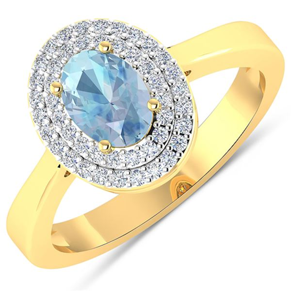 Natural 0.76 CTW Aquamarine & Diamond Ring 14K Yellow Gold - REF-36T9H