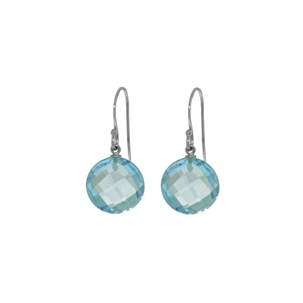 Genuine 12 ctw Blue Topaz Earrings 14KT White Gold - REF-24K4V