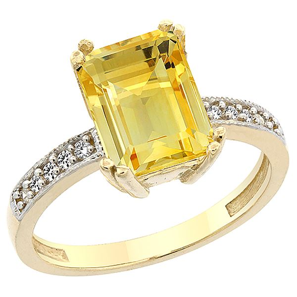3.70 CTW Citrine & Diamond Ring 14K Yellow Gold - REF-40K2W