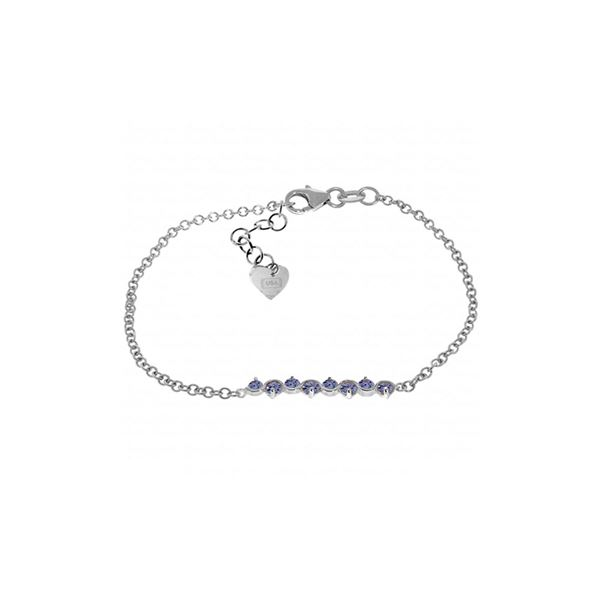 Genuine 1.55 ctw Tanzanite Bracelet 14KT White Gold - REF-65H2X