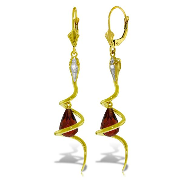 Genuine 4.56 ctw Garnet & Diamond Earrings 14KT Yellow Gold - REF-91K4V