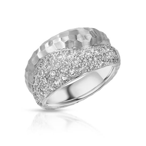 Natural 0.84 CTW Diamond Ring 14K White Gold - REF-133H2W