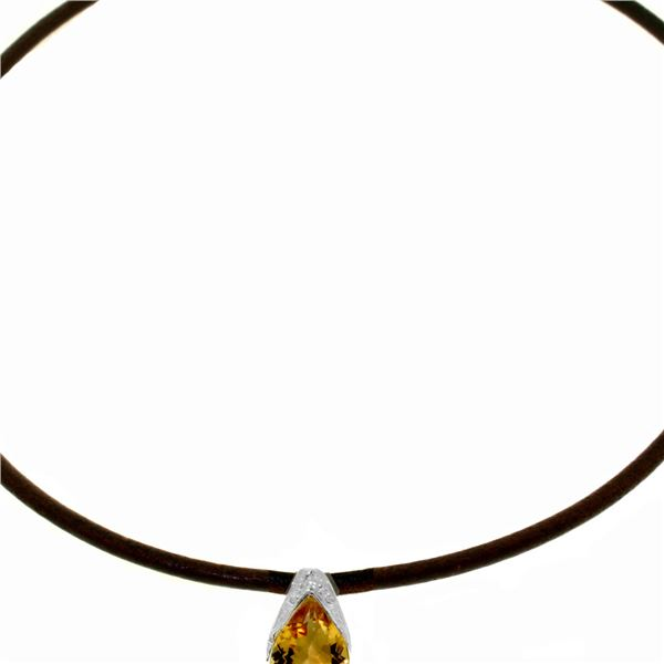 Genuine 6 ctw Citrine Necklace 14KT White Gold - REF-30V5W