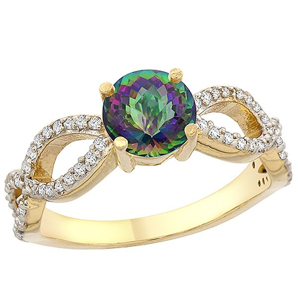 1.25 CTW Mystic Topaz & Diamond Ring 14K Yellow Gold - REF-49M8A