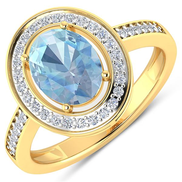 Natural 1.62 CTW Aquamarine & Diamond Ring 14K Yellow Gold - REF-59N8R